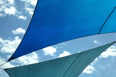 Shade sails in blue and green
