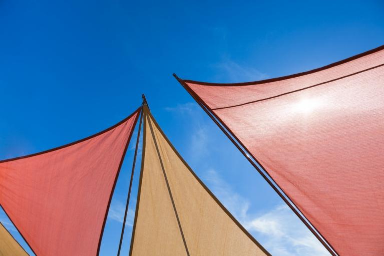 A clean shade sails basking in sunshine